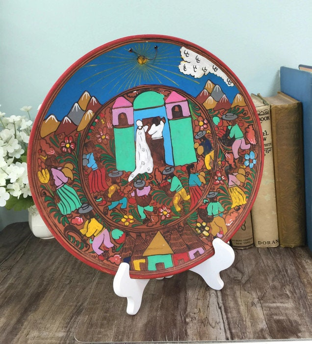 Image 8 of Mexican Folk Art Plate, Red Clay Wedding Dish