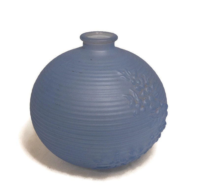 Image 8 of MidCentury Tiffin Blue Frosted Glass Vase