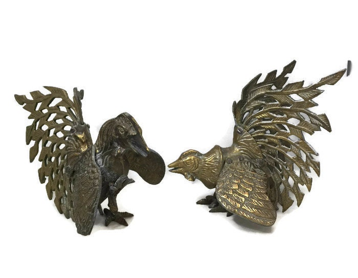 Vintage Ornate Filagree Fighting Cocks