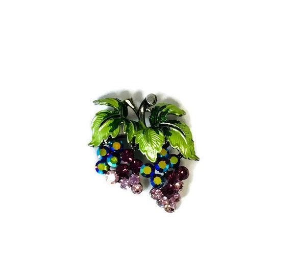 1940s Book Piece Vintage Austrian Lucite Forbidden Fruit Enamel and Crystal Pin Super Sparkly Very COLLECTIBLE Grapes Rhinestone Brooch