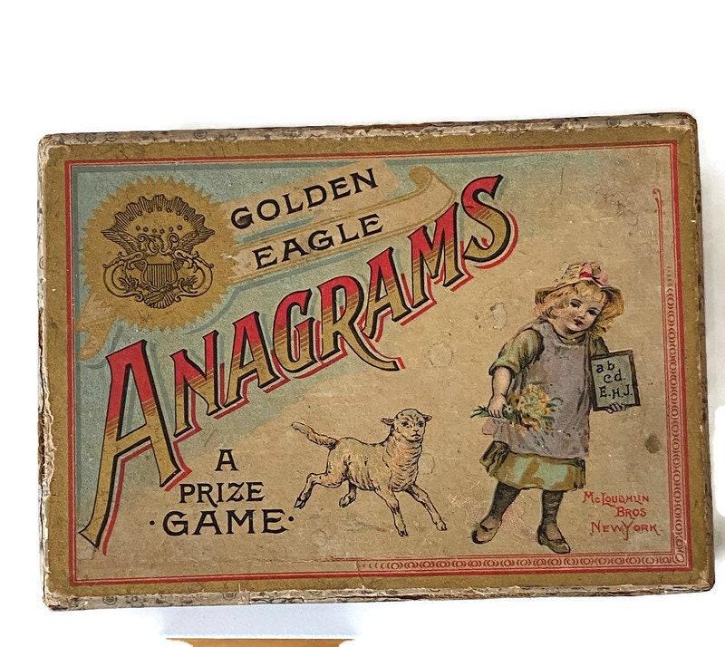 Image 9 of Antique Game - Anagrams - McLoughlin Bros, Original Box, Rare Very God Condition