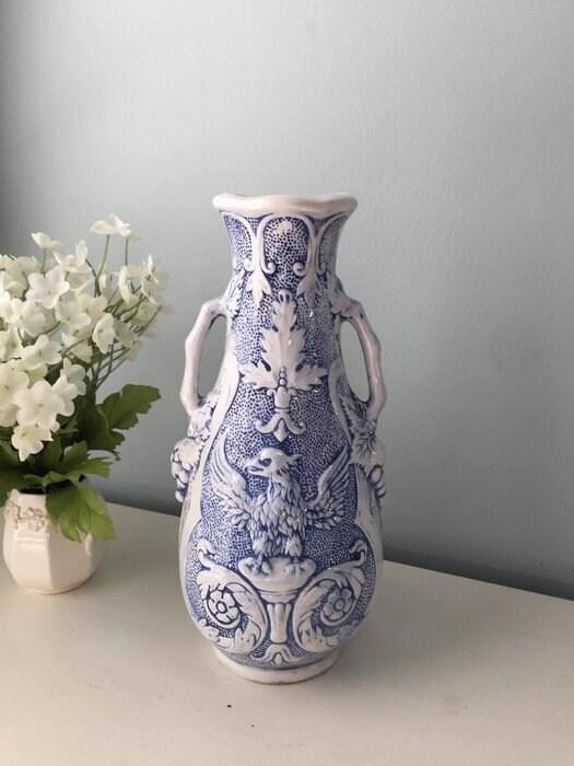 Vintage German Blue and White Ceramic Vase