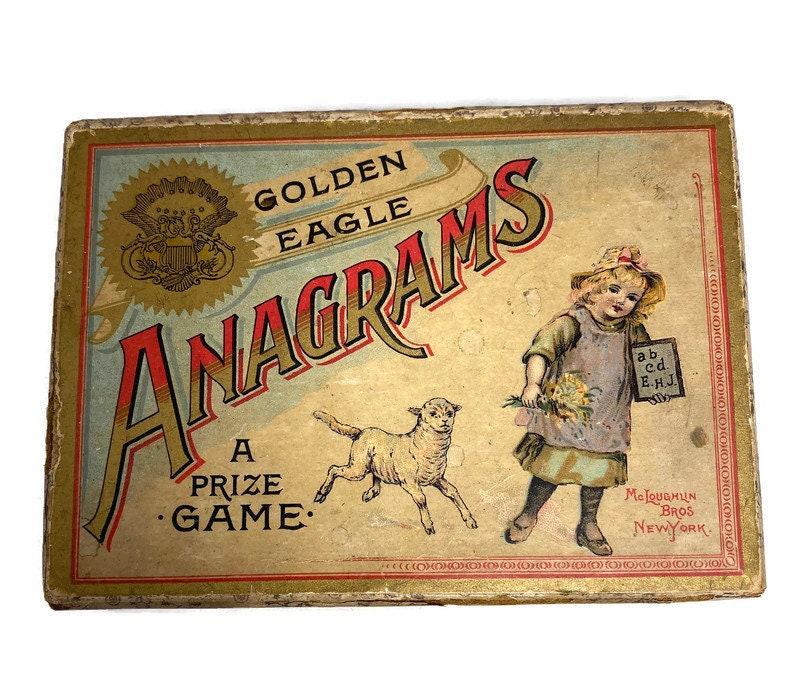 Image 7 of Antique Game - Anagrams - McLoughlin Bros, Original Box, Rare Very God Condition