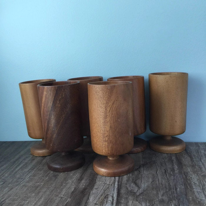 Image 3 of Mid Century Wood Pedestal Cups