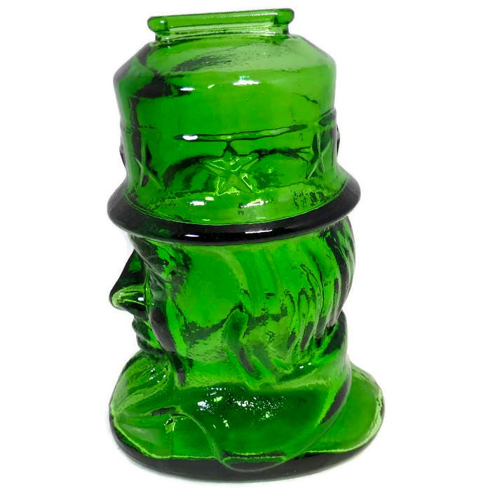 Image 7 of Vintage Uncle Sam Glass Coin Bank by Wheaton