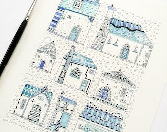 The Delft Blue Hamlet - Original Drawing