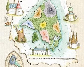 The Isle of St Anthony - print of original illustration