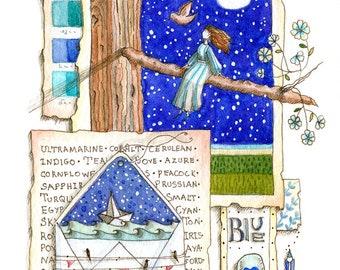 A Love Letter to Blue - print of original illustration