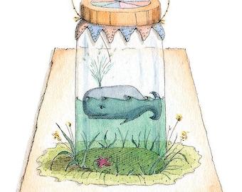 Tiny Whale - print of original illustration