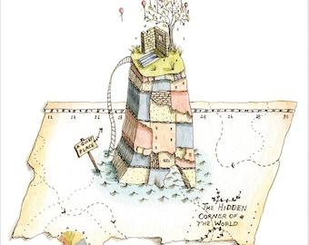 The Hidden Corner of the World - print of original illustration