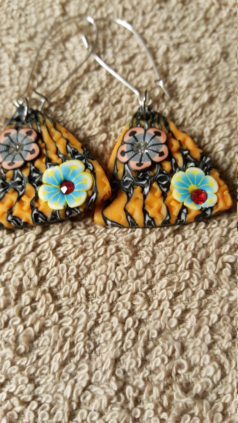 2 inch orange butterfile drop pierced earrings made of clay