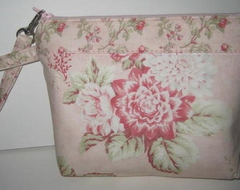 Wristlet Pouch Clutch | 3 Sisters Seaside Rose fabric