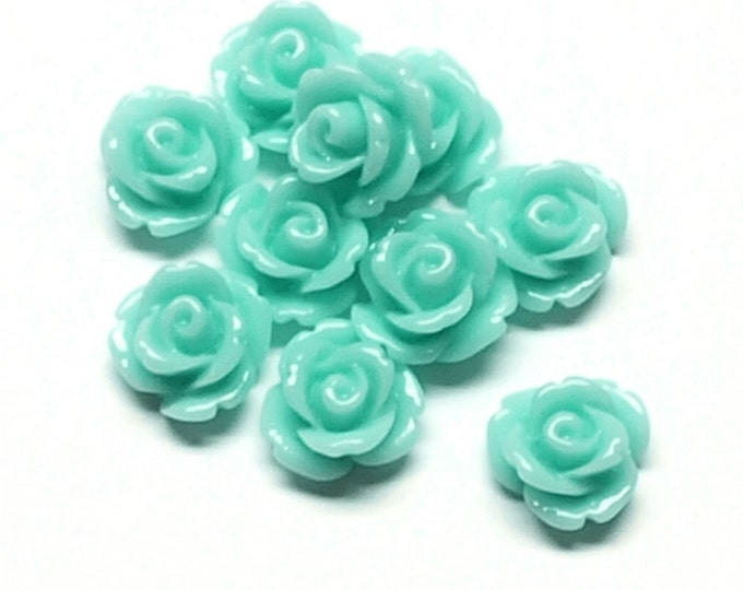 Resin Cabochon, Rose 10mm, Aquamarine - 10 Pieces (RSCRS-10AQ)
