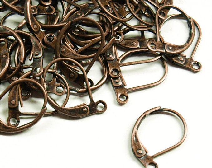 Earwire, Leverback, Antique Copper - 10 Pieces (EWBAC-LB)
