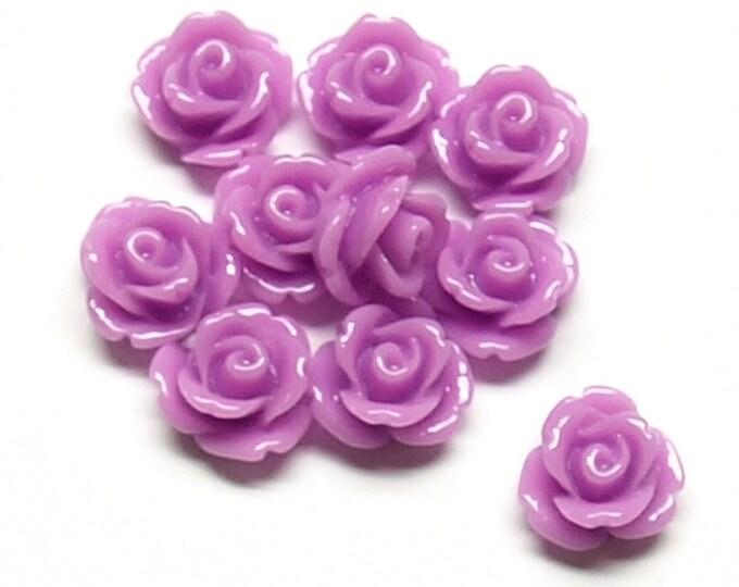 Resin Cabochon, Rose 10mm, Violet - 10 Pieces (RSCRS-10VI)
