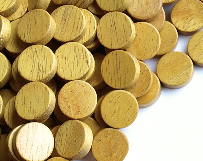 Wood Bead, Coin 15mm, Nangka - 16 Inch Strand (WDCN-15NK)