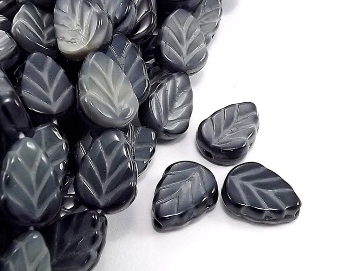 CZLF-05JG - Czech Leaf, 8x10mm, Jet/Marbled Gray - 20 Pieces