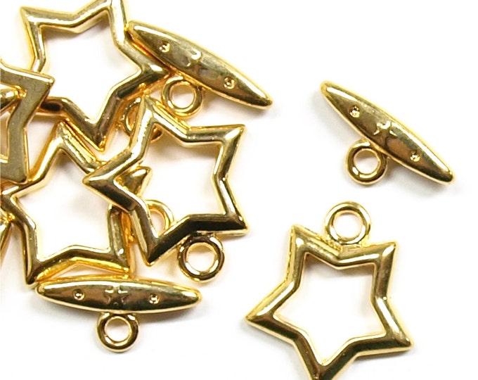 Clasp, Toggle, 15mm, Gold - 5 Sets (CLAGP-TG02)