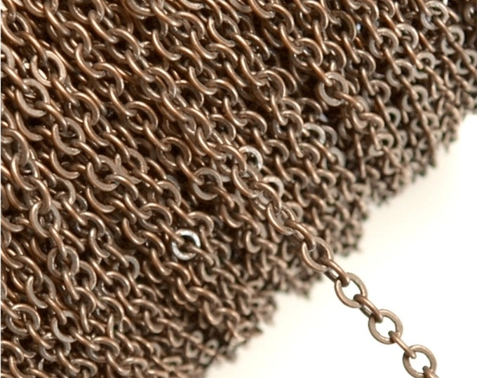 CLOSEOUT - Chain, Cable Flat 4mm, Antique Copper - 25 Meters (CHIAC-CAF40)