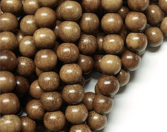 Wood Bead, Round 10mm, Robles - Ten 16 Inch Strands (WDRD-10RB)