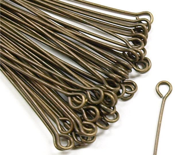 CLOSEOUT - Eye Pin, 2 in/21 ga, Antique Brass - 500 Pieces (EPBAB-5021)