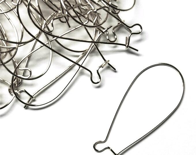 Earwire, Kidney Large, Rhodium - 10 Pieces (EWBRP-KD35)
