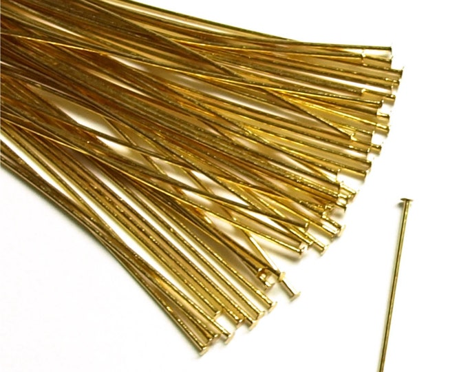 Head Pin, 2 in/24 ga, Gold - 50 Pieces (HPBGP-5024)