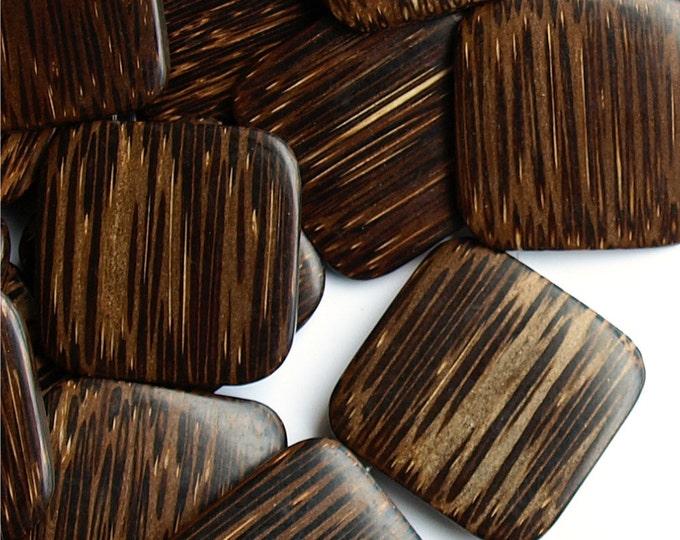 Wood Bead, Flat Square 35mm, Old Palm - 8 Inch Strand (WDSQ-35PM)