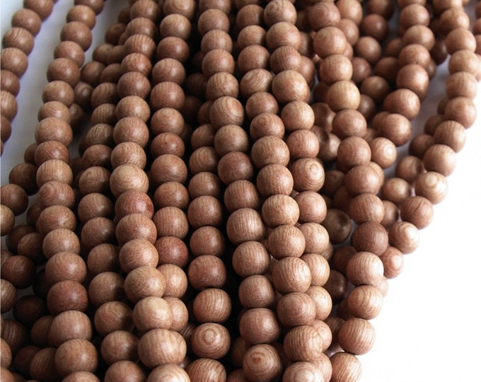 Wood Bead, Round 5mm, Rosewood - Five 16 Inch Strands (WDRD-05RS)