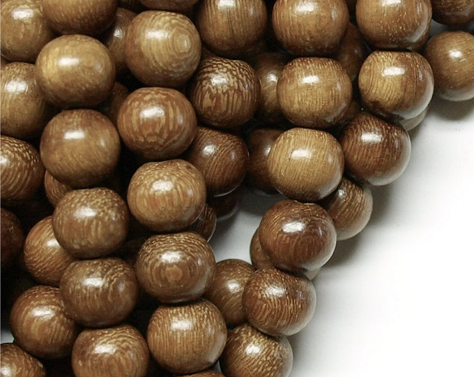 Wood Bead, Round 12mm, Robles - 16 Inch Strand (WDRD-12RB)