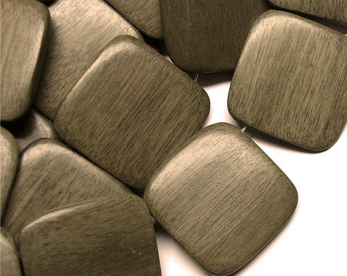 Wood Bead, Flat Square 35mm, Graywood - 16 Inch Strand (WDSQ-35GR)