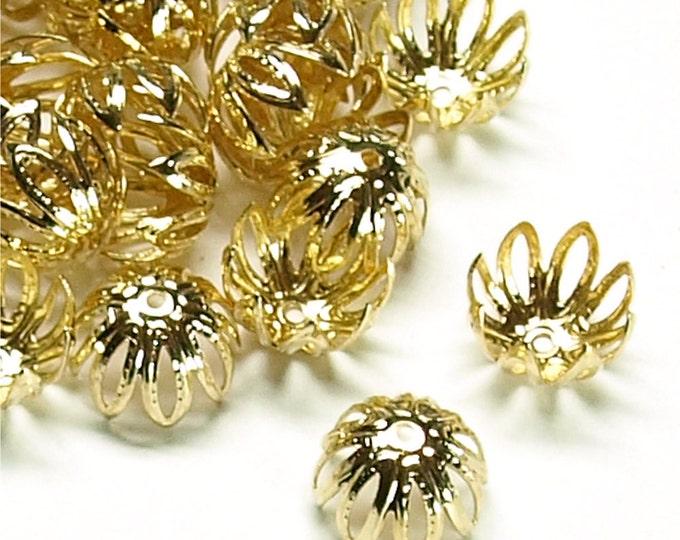 CLOSEOUT - Bead Cap, 10mm, Gold - 50 Pieces (BCBGP-03)