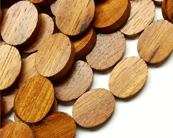 Wood Bead, Flat Oval 15x20mm, Bayong - Three 16 Inch Strands (WDOVF-20BY)