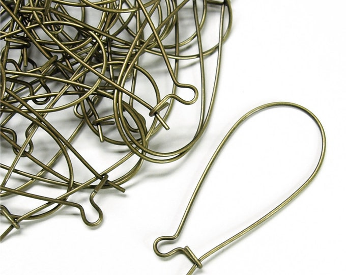 CLOSEOUT - Earwire, Kidney Large, Antique Brass - 100 Pieces (EWBAB-KD35)