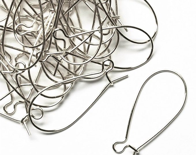 Earwire, Kidney Medium, Silver - 10 Pieces (EWBSP-KD30)
