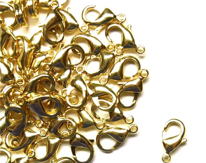 CLOSEOUT - Clasp, Lobster, 10mm, Gold - 100 Pieces (CLBGP-LB10)