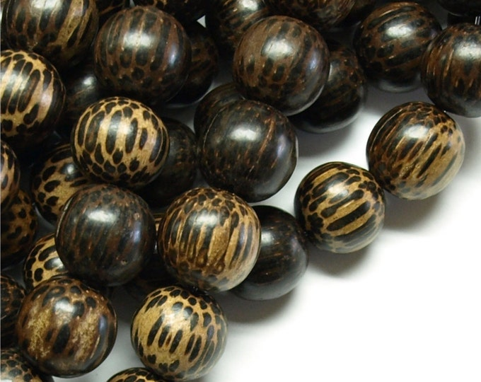 Wood Bead, Round 15mm, Old Palm - Five 16 Inch Strands (WDRD-15PM)