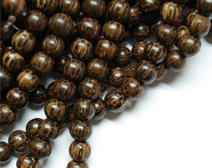 Wood Bead, Round 6mm, Old Palm - Five 16 Inch Strands (WDRD-06PM)