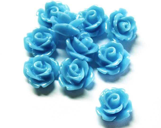 CLOSEOUT - Resin Cabochon, Rose 10mm, Sky Blue - 50 Pieces (RSCRS-10SB)