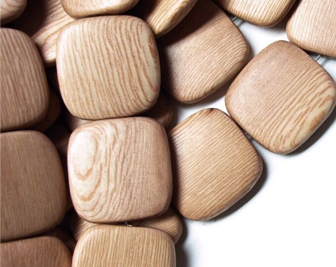 Wood Bead, Flat Square 25mm, Rosewood - 8 Inch Strand (WDSQ-25RS)