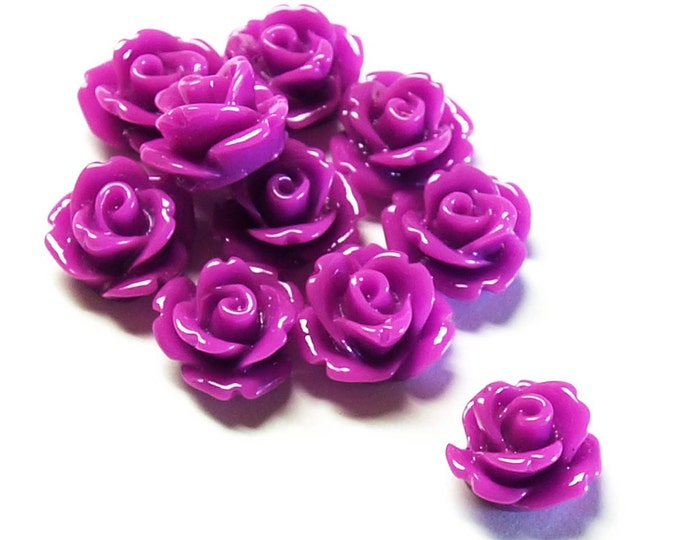 Resin Cabochon, Rose 10mm, Orchid - 10 Pieces (RSCRS-10OR)