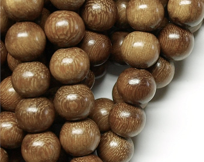 Wood Bead, Round 15mm, Robles - Three 16 Inch Strand (WDRD-15RB)