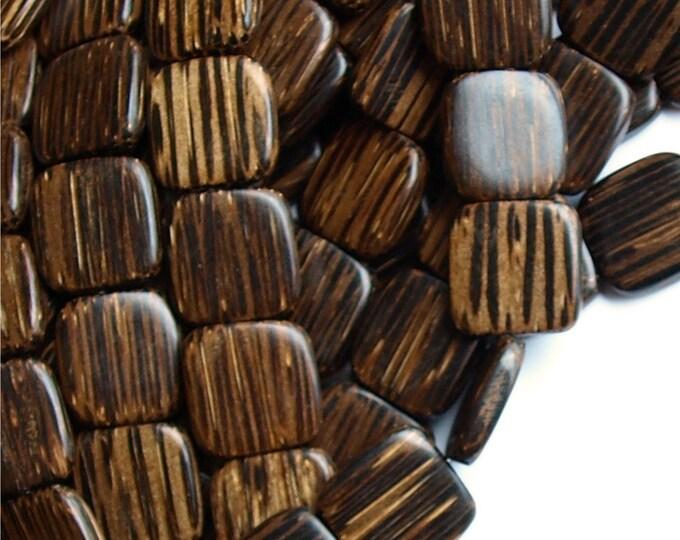 Wood Bead, Flat Square 16mm, Old Palm - 16 Inch Strand (WDSQ-16PM)