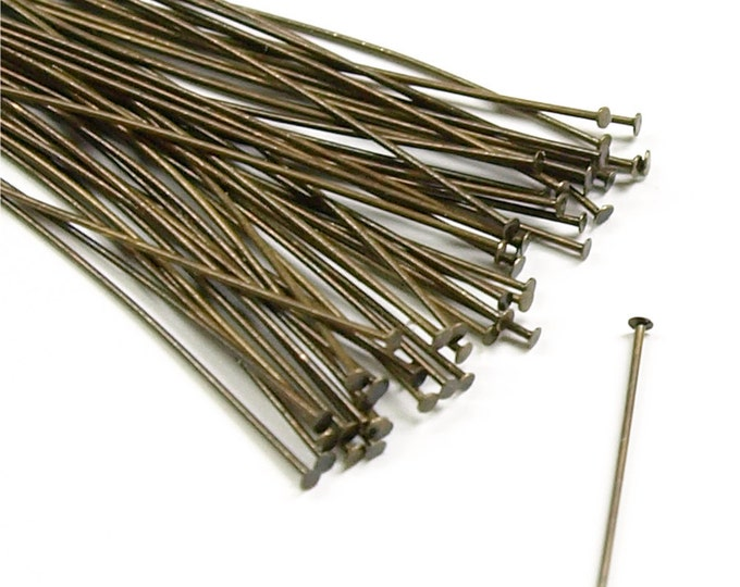 CLOSEOUT - Head Pin, 2 in/24 ga, Antique Brass - 500 Pieces (HPBAB-5024)