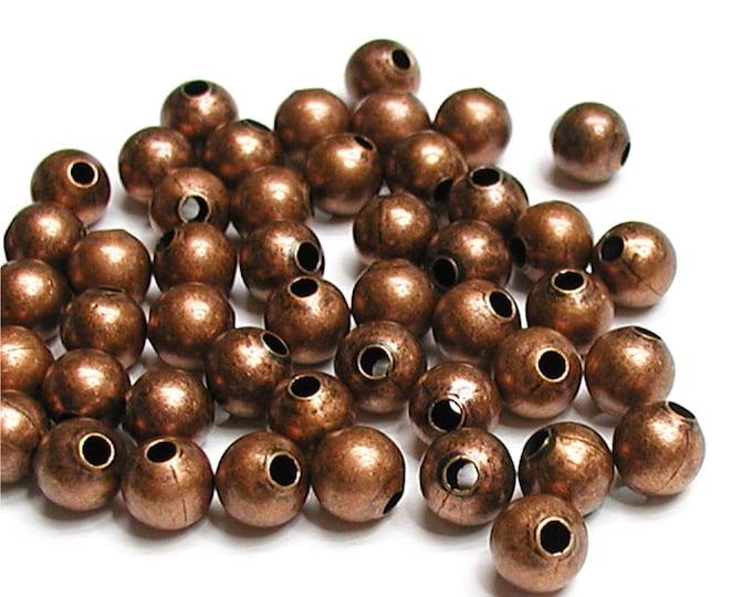 Bead, Round, 4mm, Antique Copper - 500 Pieces (BDBAC-RD40)