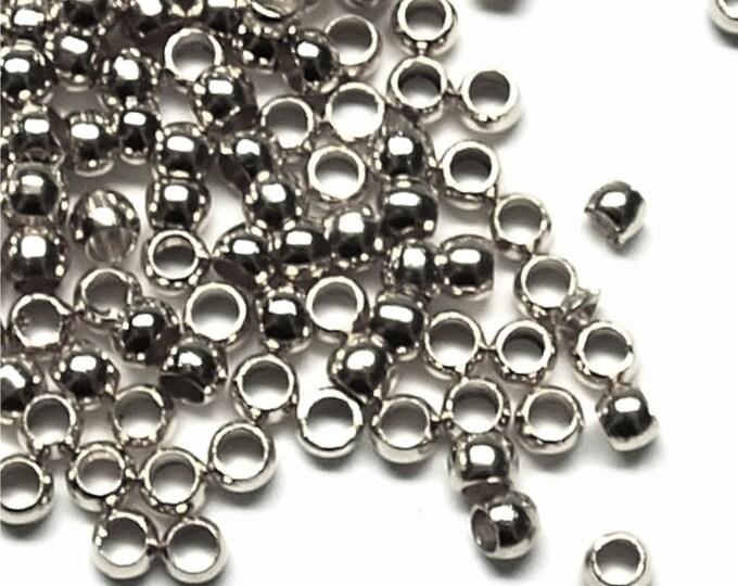 Crimp Bead, 3mm, Rhodium - 100 Pieces (CBBRP-PL30)