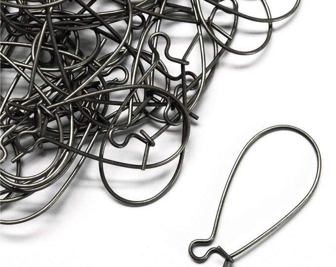 Earwire, Kidney Medium, Gunmetal - 10 Pieces (EWBGM-KD30)