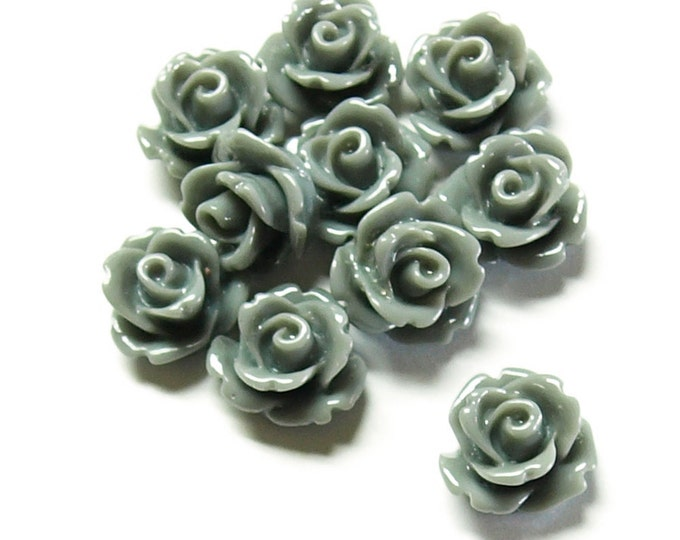 Resin Cabochon, Rose 10mm, Gray - 10 Pieces (RSCRS-10GY)