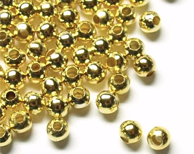Bead, Round, 3mm, Gold - 100 Pieces (BDBGP-RD30)