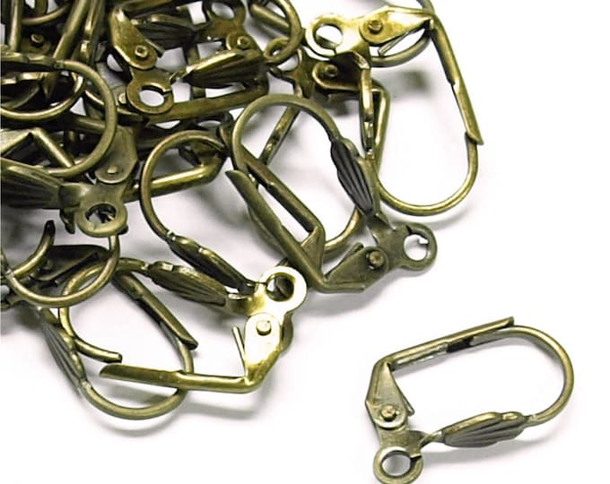 CLOSEOUT - Earwire, Leverback Shell, Antique Brass - 100 Pieces (EWBAB-LBS)